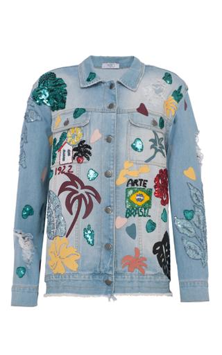 Medium patbo light wash patches oversized jeans jacket