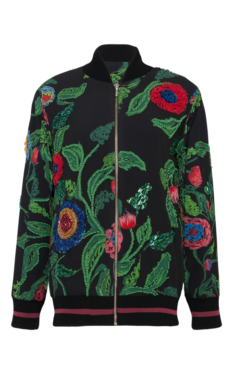 Embroidered floral bomber jacket by patbo moda operandi