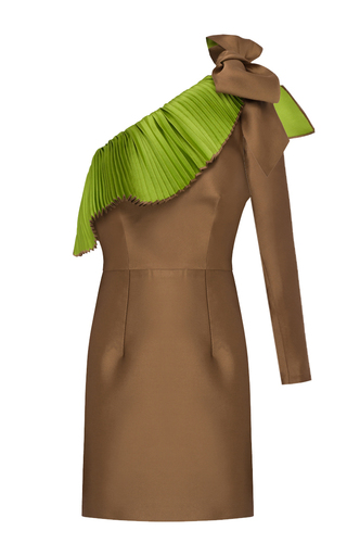 Medium patbo brown one shoulder pleated dress