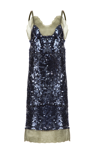 Medium lalo blue sequins slip dress