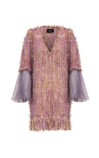 Medium lalo multi handmade tweed dress with organza sleeves