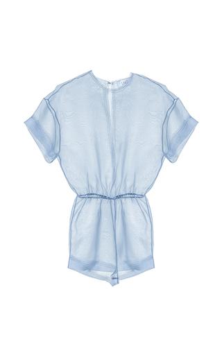 Medium lalo blue sheer short sleeve romper
