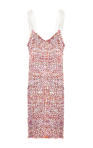 Medium lalo pink fringe tweed dress 2