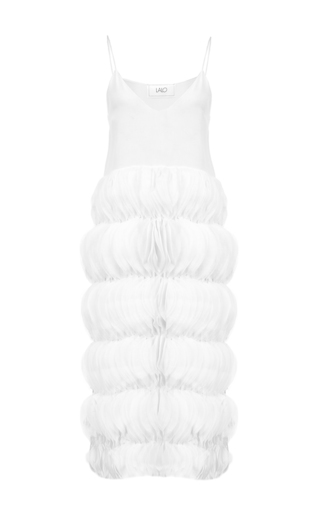 Medium lalo white midi dress with ruffles