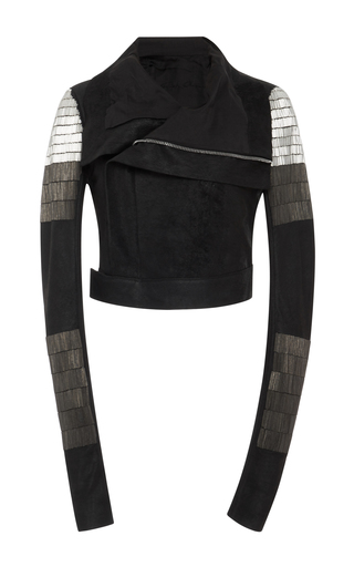 Medium rick owens black embellished suede biker jacket