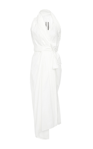 Medium rick owens white limo halter draped mid length dress