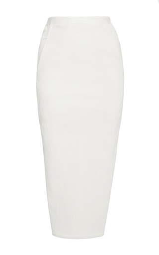 Medium rick owens white soft pillar midi pencil skirt