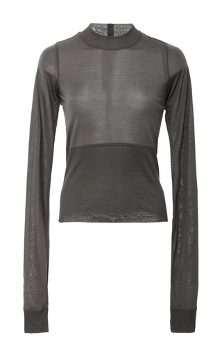 Medium rick owens dark grey plinth crewneck banded waist top