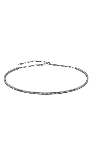 Medium jack vartanian dark grey 18k white gold and black rhodium diamond choker