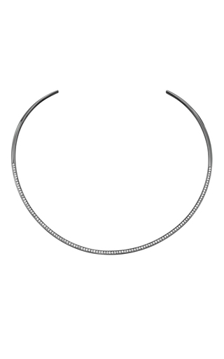 Medium jack vartanian silver 18k white gold hoop diamond necklace