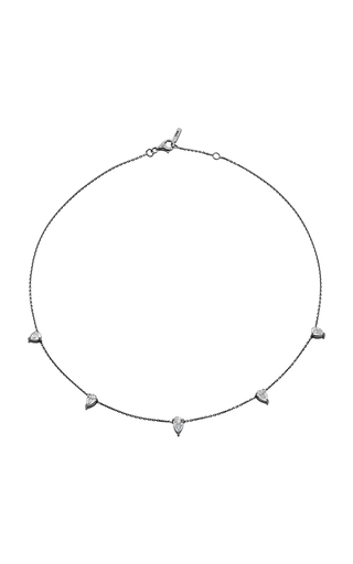 18 K White Gold And Black Rhodium Diamond Drop Choker by JACK VARTANIAN Now Available on Moda Operandi