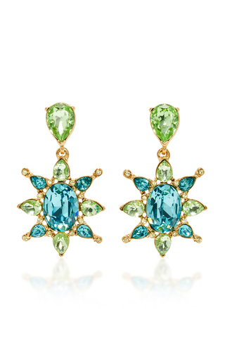 Medium oscar de la renta blue aqua tropical bloom star c earring