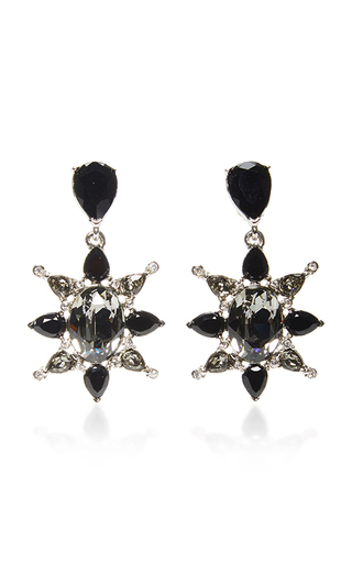Medium oscar de la renta black tropical bloom star earrings black
