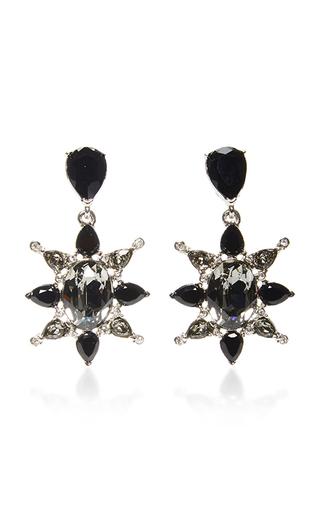 Medium oscar de la renta black tropical bloom star earrings black