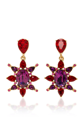 Medium oscar de la renta pink hot pink tropical bloom star c earring