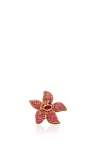 Medium oscar de la renta pink tropical bloom ring