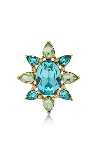 Medium oscar de la renta blue tropical bloom star ring aqua