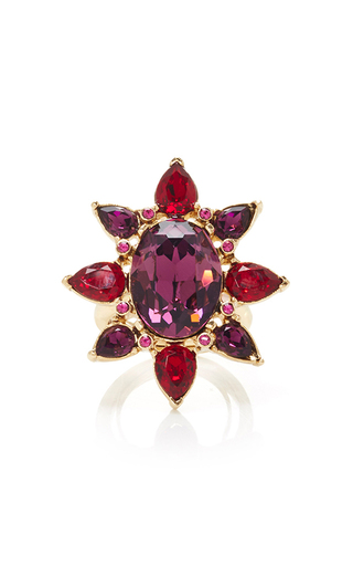 Medium oscar de la renta pink tropical bloom star ring pink