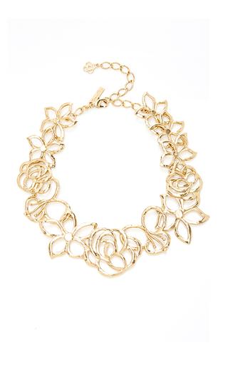 Medium oscar de la renta gold intertwined floral necklace