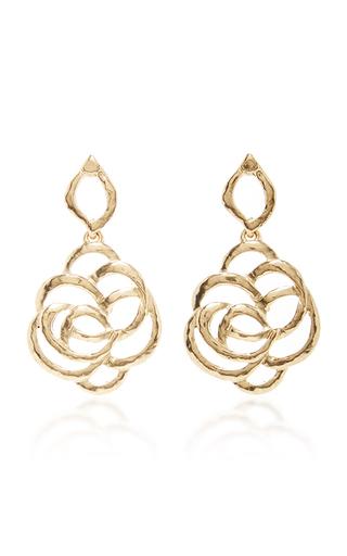 Medium oscar de la renta gold intertwined floral earrings