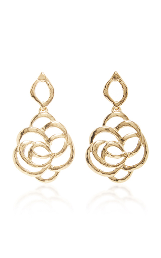 Medium oscar de la renta gold intertwined floral earrings
