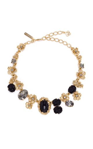 Medium oscar de la renta black jet resin bouquet necklace