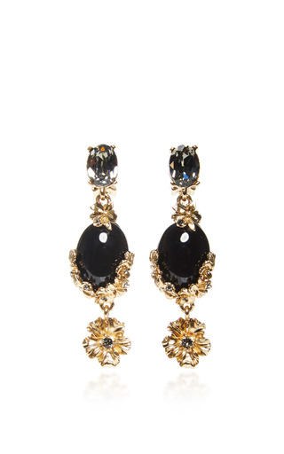 Medium oscar de la renta black jet boquet earrings