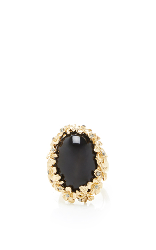 Medium oscar de la renta black jet bouquet ring