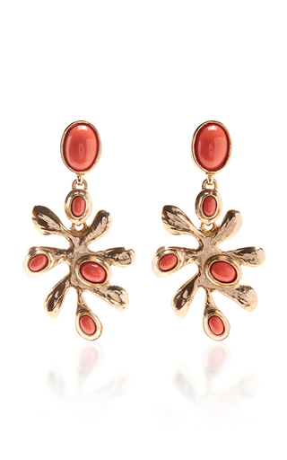 Medium oscar de la renta red coral sea tangle c earring