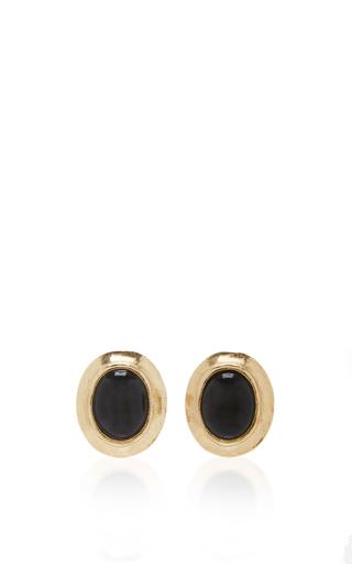 Medium oscar de la renta black jet sea tangle button earring