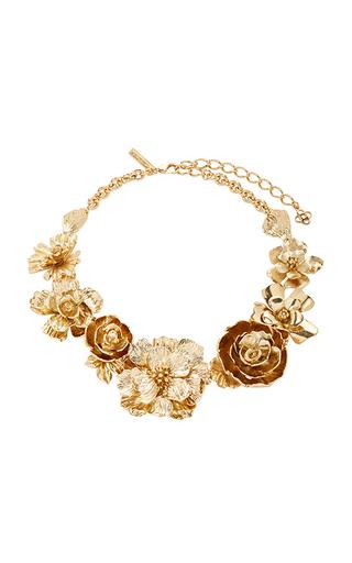 Medium oscar de la renta gold bold flower necklace