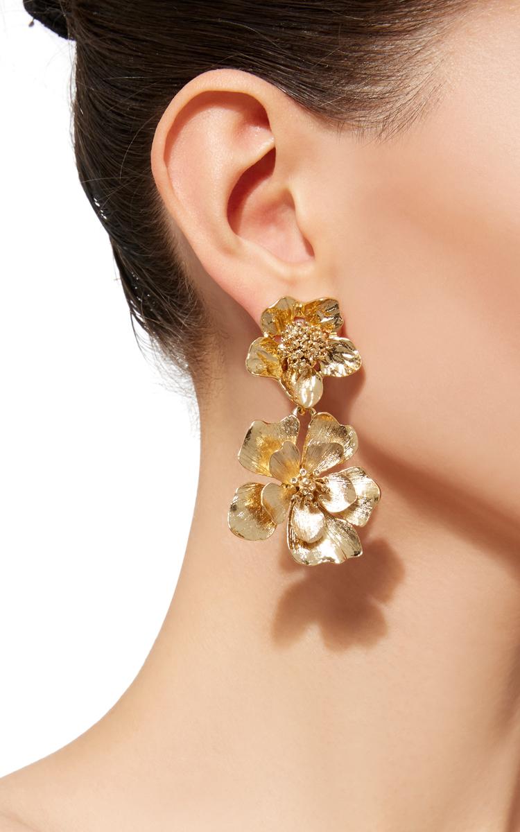 Oscar De La Renta Gold Large Impatiens Flower Drop Earrings WumbOGf