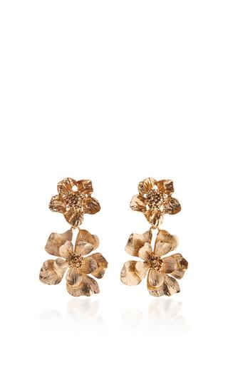 Medium oscar de la renta gold bold flower drop earrings
