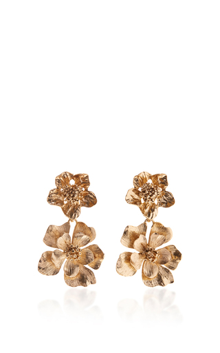 Medium oscar de la renta gold bold flower drop earrings
