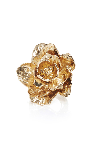 Medium oscar de la renta gold bold flower ring gold