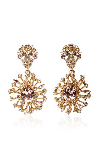 Medium oscar de la renta gold crystal coral earrings