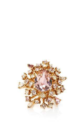 Medium oscar de la renta gold crystal coral ring