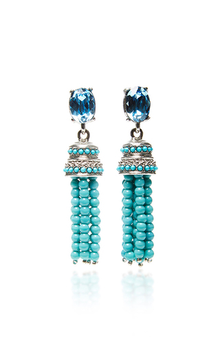 Medium oscar de la renta blue beaded tassel earrings