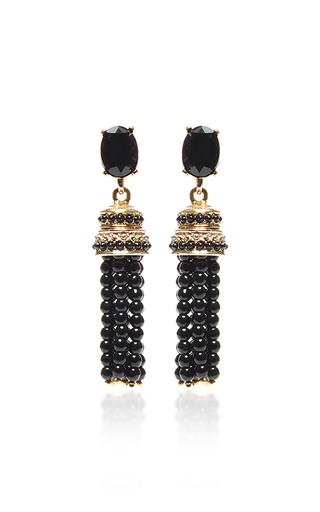 Medium oscar de la renta black beaded tassel earrings black
