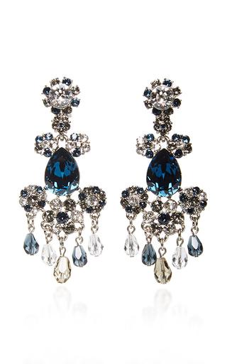 Medium oscar de la renta black crystal flower earrings