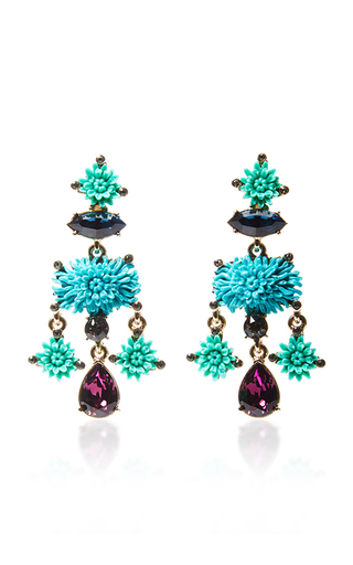 Medium oscar de la renta blue aqua dahlia earrings