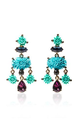 Medium oscar de la renta blue aqua dahlia earrings