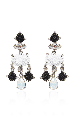 Medium oscar de la renta black black dahlia earrings