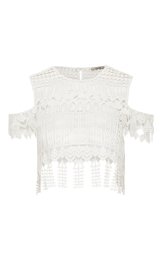 Medium thurley white chandelier lace crop top