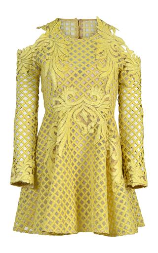 Medium thurley yellow hybrid lace mini dress