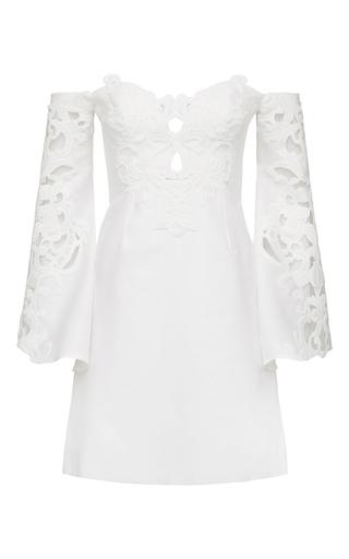 Medium thurley white helena trumpet sleeve dress