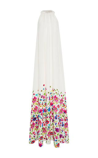 Medium oscar de la renta white floral maxi dress