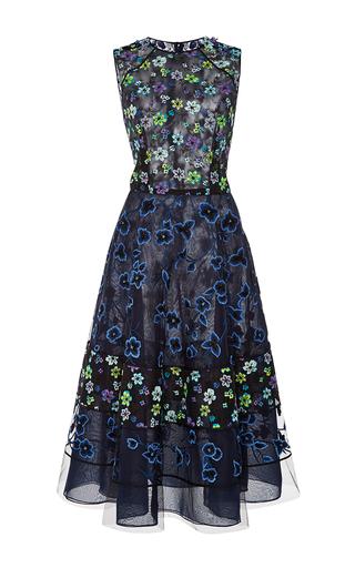 Medium oscar de la renta navy floral a line dress