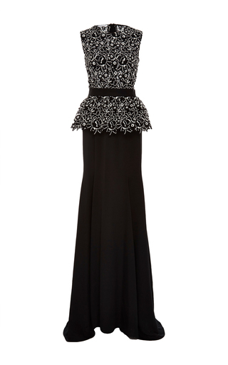 Medium oscar de la renta black sleeveless peplum gown