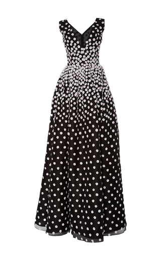 Medium oscar de la renta black white sleeveless daffodil dress